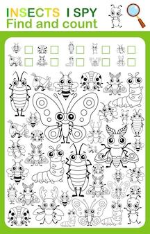 Página do livro para colorir eu espio contagem e planilha para impressão de insetos coloridos para o jardim de infância e a pré-escola