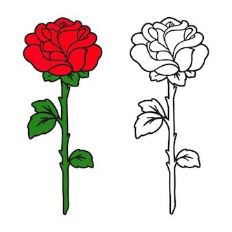 Página do livro para colorir flor rosa para crianças e adultos
