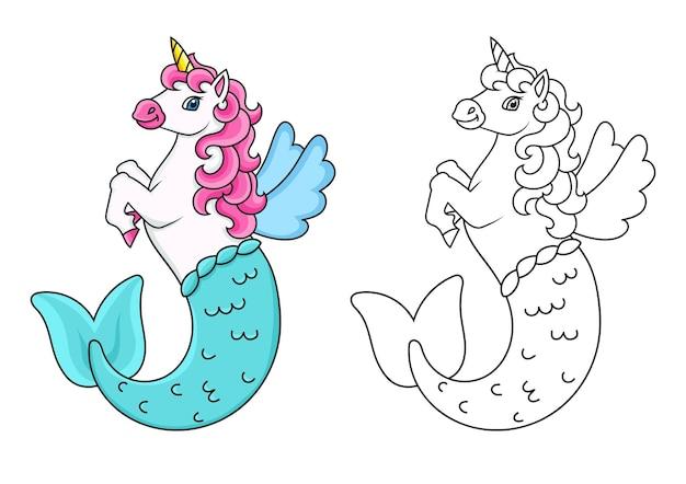 Página do livro para colorir para crianças, unicórnio bonito da sereia, cavalo mágico de fadas