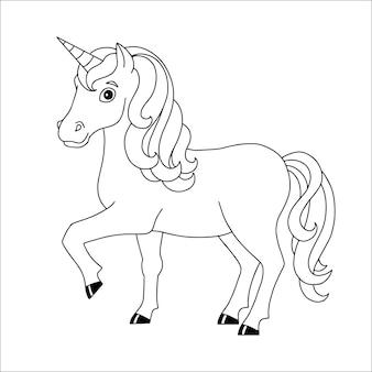 Página do livro para colorir para crianças, unicórnio fada, cavalo mágico de fadas