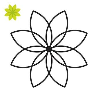 Página do livro para colorir. pétalas de flores, linda ilustração de pétalas de flores isoladas no fundo branco