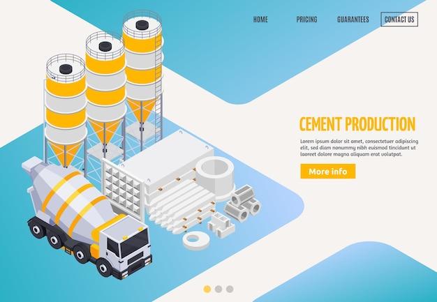 Página do site de aterrissagem isométrica da produção de cimento de concreto