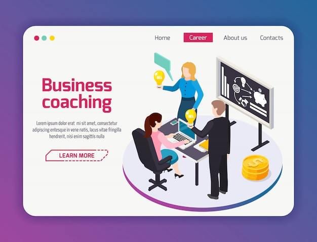 Página do site de business coaching