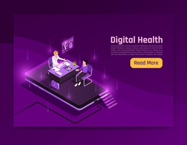 Página do site do banner isométrico do brilho da saúde digital da telemedicina com leia mais texto do botão e ilustração de imagens brilhantes,