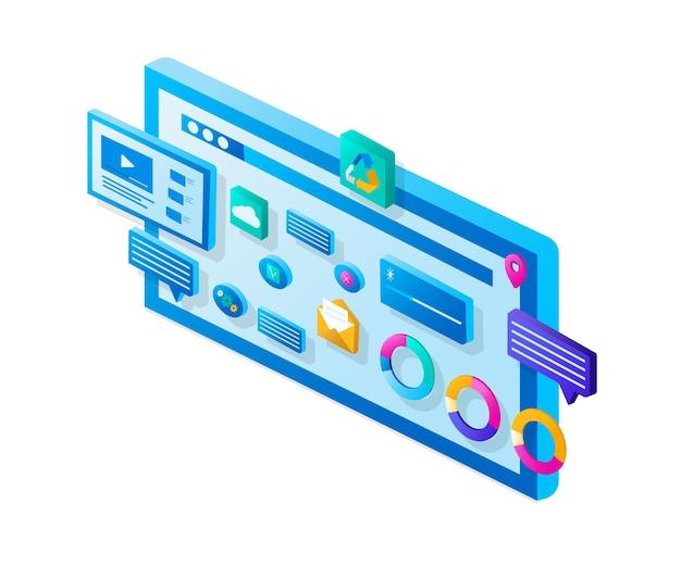 Página do site do controle deslizante de ilustração moderna. análise de promoção de site de banner.