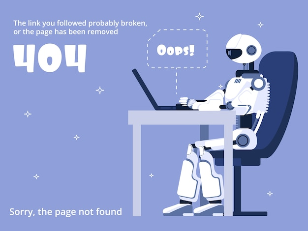 Página do site não encontrada com robô e mensagem de aviso
