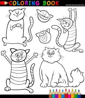 Página dos desenhos animados de gatos ou gatinhos