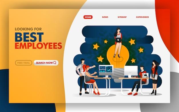 Página dos melhores funcionários trazem novas ideias para inspirar