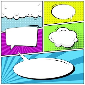 Página em branco de estilo pop art em quadrinhos.