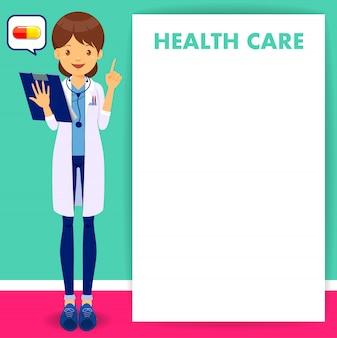 Página em branco de médico feminino design plano