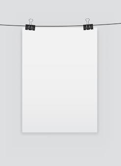 Página em branco em branco com ilustração vetorial de clipe