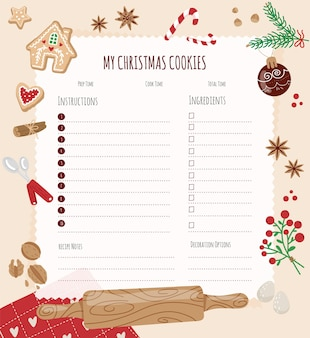 Página em branco para receitas de natal modelo para brochura de design de web de banner de layout