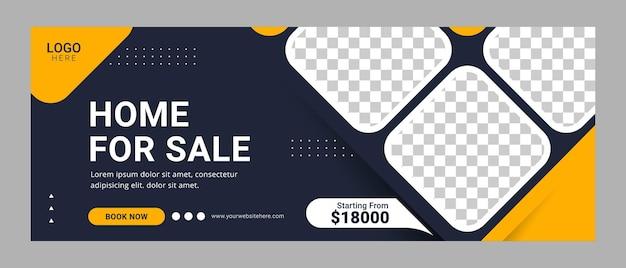 Página inicial à venda banner de modelo de capa do facebook para anúncio