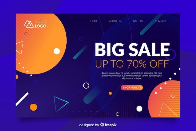Página inicial abstrata de grande venda