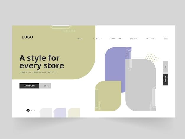 Página inicial abstrata ou design de banner da web para cada loja.