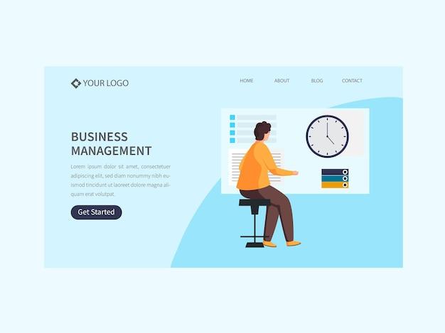 Página inicial baseada no conceito de gestão empresarial na cor azul.