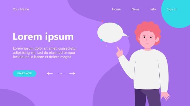 Página inicial, cara ruiva apontando para o balão vazio. dedo, bate-papo, ilustração vetorial plana de rede. conceito de comunicação e mensagem