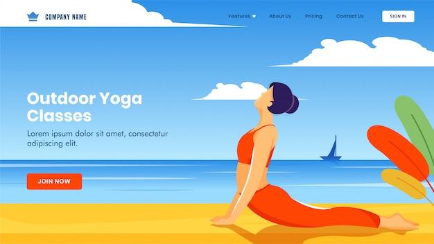 Página inicial com a jovem garota fazendo exercício em pose de bhujangasana na vista da praia para aulas de ioga ao ar livre.