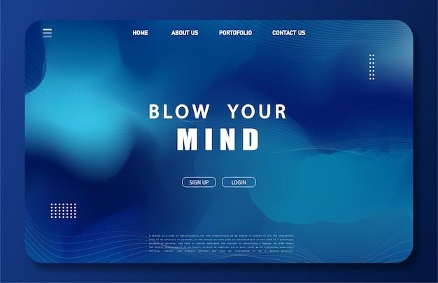 Página inicial com cor holográfica azul clássica em estilo minimalista