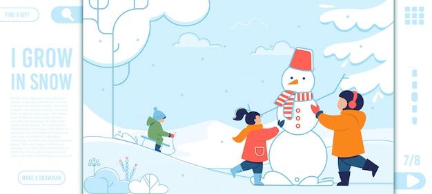 Página inicial com crianças que se divertem no inverno
