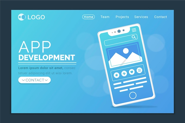 Página inicial com design para smartphone