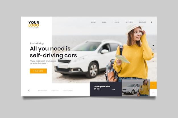 Página inicial com foto de mulher ao lado do carro