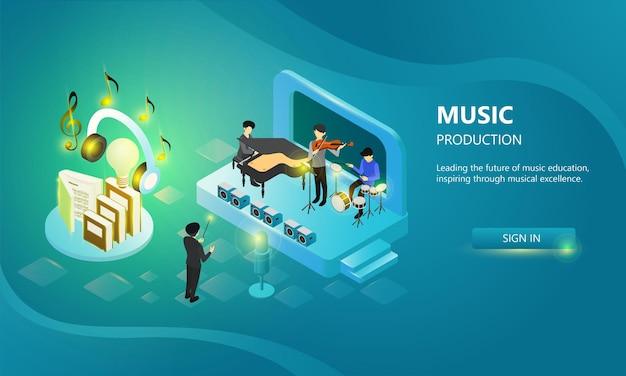 Página inicial com ilustração de estilo isométrico de um evento de festival de música em um grande palco