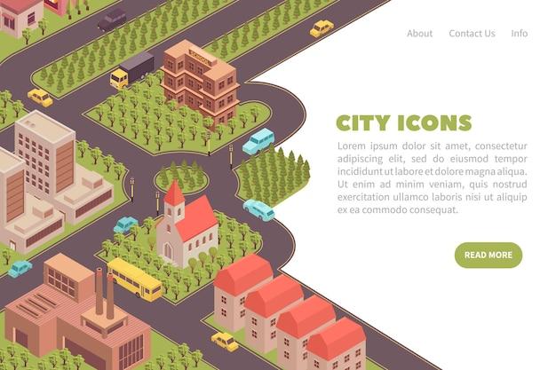 Página inicial com ilustração isométrica da cidade e modelo de call-to-action