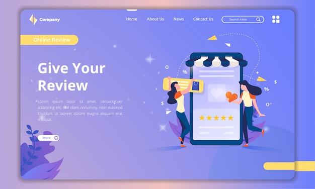 Página inicial com ilustrações sobre o conceito de comentários de clientes