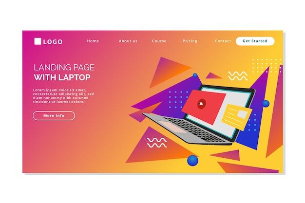Página inicial com laptop com gradiente