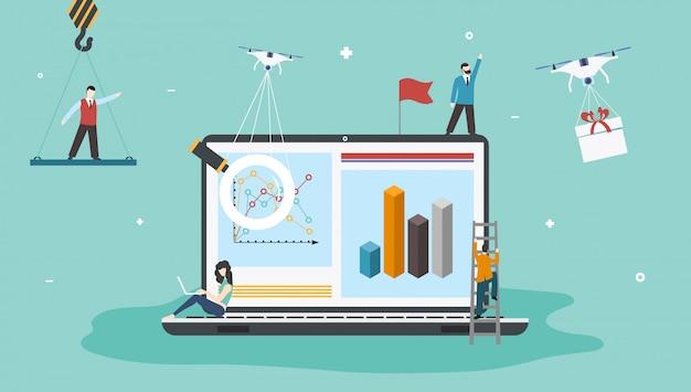 Página inicial com laptop, pessoas e drones. o conceito de transporte e entrega do futuro. drone oferece presentes e mercadorias. ilustração em vetor de comércio e serviços modernos