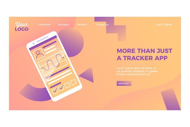Página inicial com modelo geométrico de smartphone