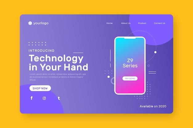 Página inicial com smartphone com gradiente