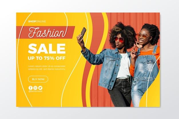 Página inicial com tema de venda de moda