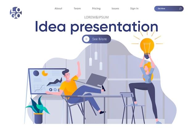 Página inicial da apresentação da ideia com cabeçalho. fundadores de inicialização discutindo projeto, brainstorming e compartilhamento de idéias na cena do escritório. coworking, trabalho em equipe e criatividade situação ilustração plana.
