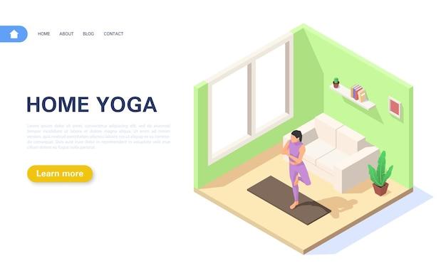 Página inicial da aula de ioga. a garota está de pé na posição vrikshasana.