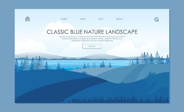 Página inicial da bela paisagem da natureza. com de classic blue colors