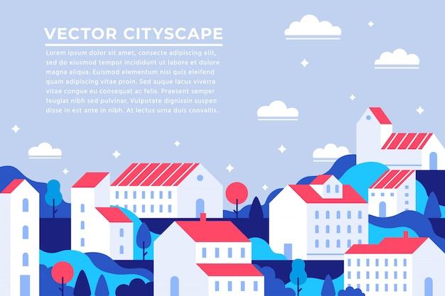 Página inicial da cidade edifícios. banner de apartamento da cidade, paisagem urbana de apartamentos de construção e ilustração do panorama da paisagem urbana moderna