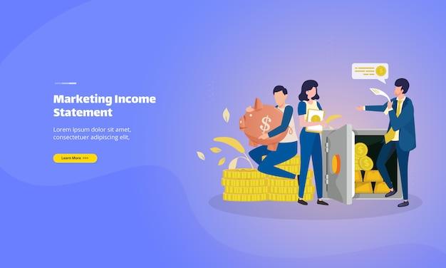 Página inicial da declaração de renda de marketing