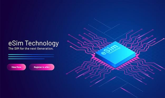 Página inicial da esim technology baseada no cartão sim incorporado em azul.