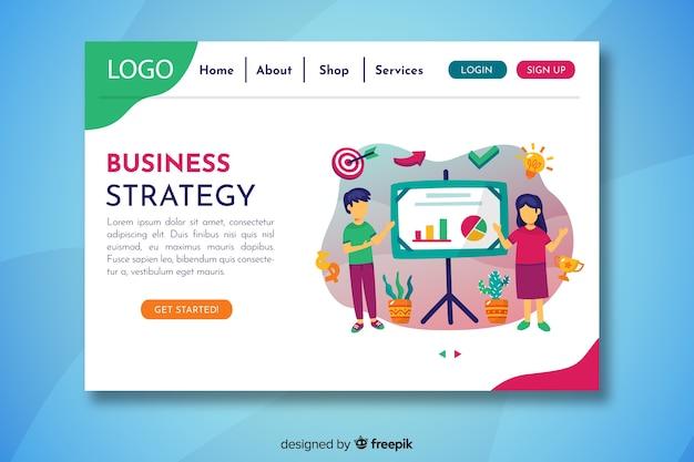 Página inicial da estratégia de negócios com apresentação de caracteres