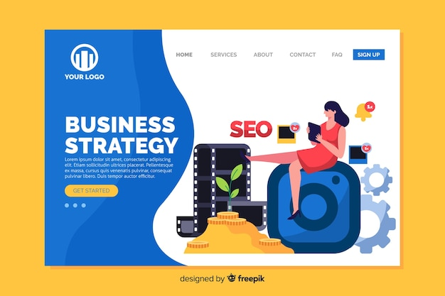 Página inicial da estratégia de negócios com elementos de design plano