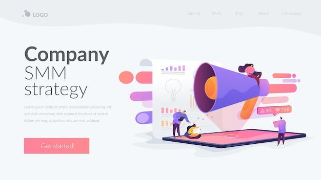 Página inicial da estratégia smm da empresa