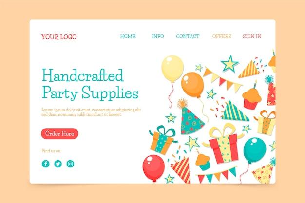 Página inicial da festa de aniversário