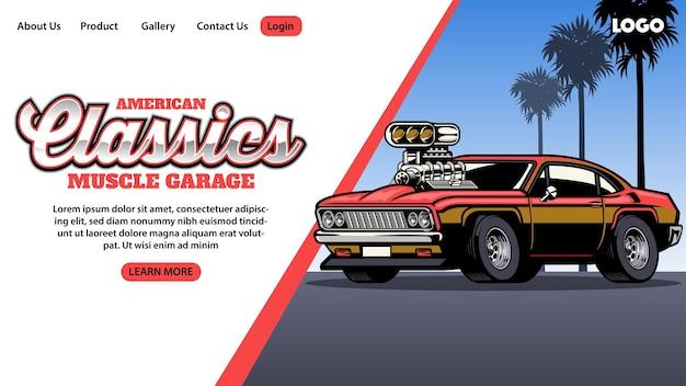 Página inicial da garagem de muscle car