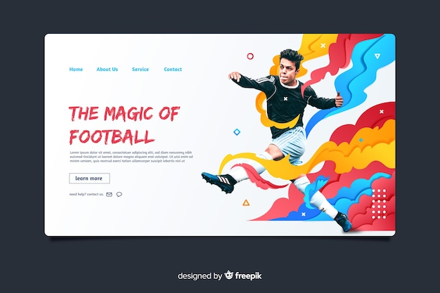 Página inicial da magia do esporte de futebol