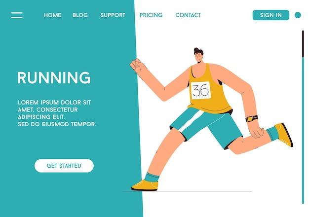 Página inicial da maratona de corrida conceito de corredor