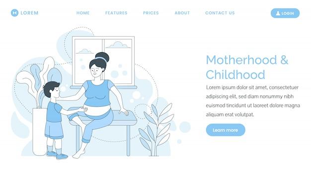 Página inicial da maternidade e da infância. mulher grávida com seu filho a passar tempo juntos.