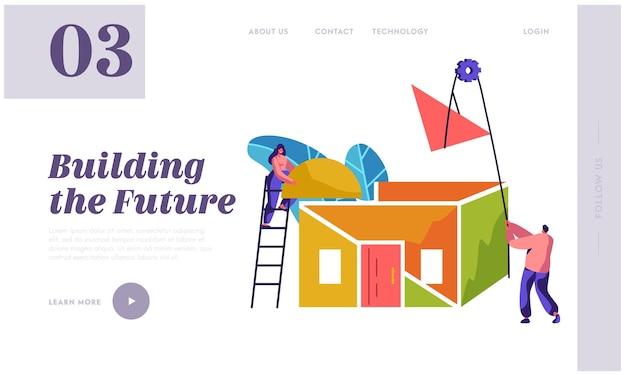 Página inicial da nova construção do team builder. mulher na casa de telhado de instalação de processo. homem para levantar o material. projeto de construção de futuro para site ou página da web ilustração vetorial plana dos desenhos animados