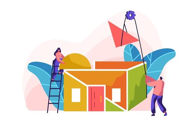 Página inicial da nova cor da construção do team builder. mulher na escada no telhado de instalação de processo em casa. homem com guincho de ajuda para levantar o material da peça. construção do projeto de estágio.